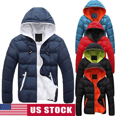 Men Winter Warm Cotton Down Jacket Ski Jacket Snow Thick Hooded Coat Parka Tops