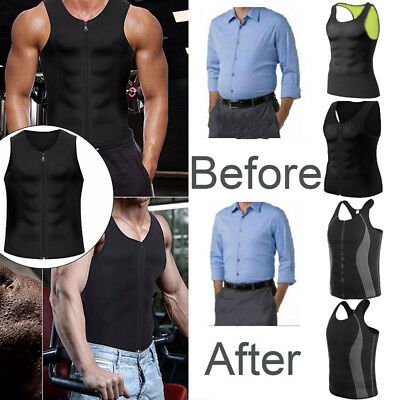 Mens Waist Trainer Sauna Sweat Vest Body Shaper Tank Compression Zipper Slim AU