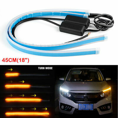 "2x 18"" Car LED Flexible Slim Strip Light Headlight DRL Flow Turn Signal Kit"