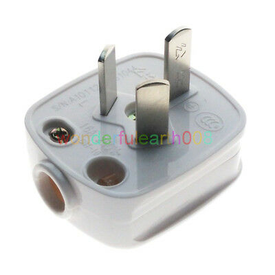 (1 PC) 16A China 3 Flat Pin Male Main Power Plug AC100~250V 16A White Color