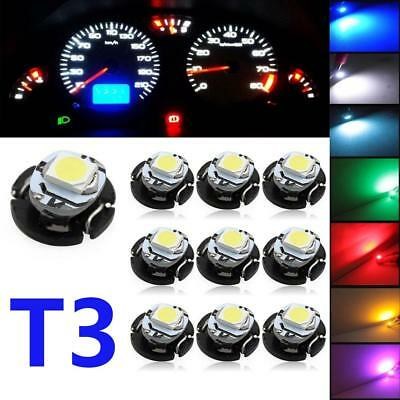 10Pcs T3 LED Car Bulbs Neo Wedge Climate Gauges Dashboard Control Lights LE ^
