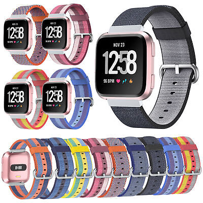 22mm Nylon Woven Sport Loop Watch Band Strap for Fitbit Versa Breathable Fabric