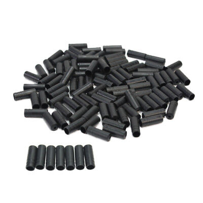 100Pcs Bike Bicycle Cycling Black Brake Cable End Caps Lined Ferrules Crimps