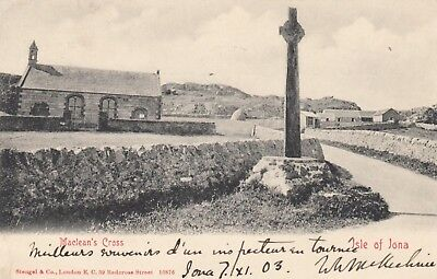 Maclean's Cross, Isle of Iona, old postcard, posted 1903