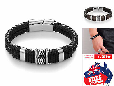 Leather(Not PU) Stainless Steel Braided Magnetic Buckle Bracelet Bangle Cuff 1pc