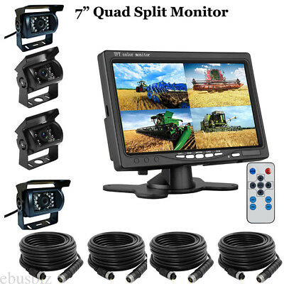 """7"""" QUAD SPLIT SCREEN MONITOR+Rearview Camera 2 SIDE 4x 33FT Cable  FOR TRUCK RV"""