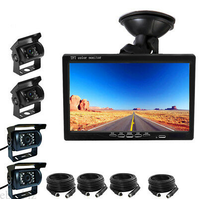 """7"""" QUAD SPLIT SCREEN MONITOR+4 LED Rearview Camera 4x 33FT Cable  FOR TRUCK BUS"""