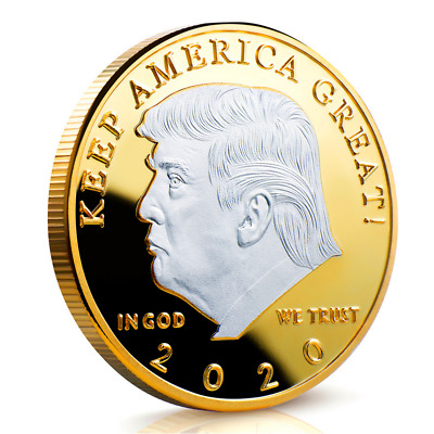 Donald J. Trump 2020 Challenge Coin KEEP AMERICA GREAT 40MM Silver&Gold