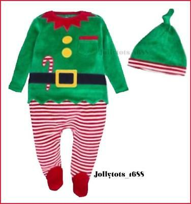 NEXT Baby Boys Xmas Romper Ages 3-18 Month Green Velour Elf All in One & Hat Set