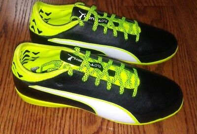 4e7e2a9d767a Puma Men s Evotouch 2 IT Soccer Shoe Size 7.5 Black White Safety Yellow Neon