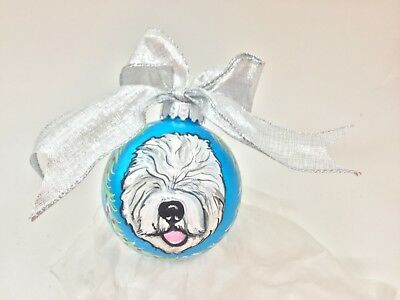 """Old English sheepdog and sheep 3.5"""" HAND PAINTED shatter proof Ornament"""