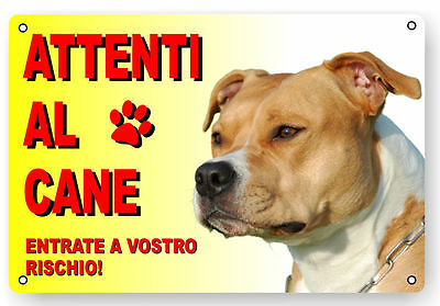 Attenti Al Cane Cartello Targa Pitbull