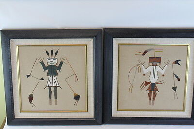 Pair of Original Navajo Indian Sand Painting Signed Vintage
