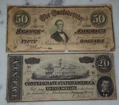 Lot of 2 Confederate States Note $20 & $50 Bills Currency Richmond Feb 17 1864