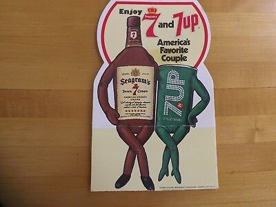Vintage Seagrams 7 Crown Whiskey and 7UP Advertising Table Card