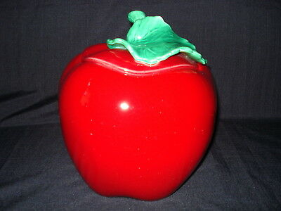 Vintage California USA Pottery Red Delicious Apple Cookie Jar Signed Numbered?