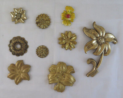 Collection Of Old Frieges Flower-Shaped Bronze Golden For Home Decoration Ch15