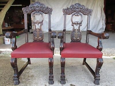 Victorian mahogany pair of carved carver armchairs  (ref 618)
