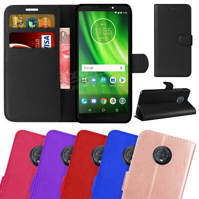 New Genuine Leather Flip Wallet Phone Case Cover For Motorola Moto G6 Play