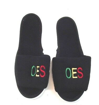 Order of the Eastern Star OES Comfortable Slippers Size Medium 6.5-7.5 Black