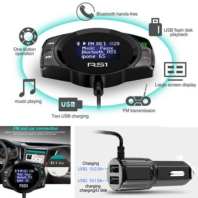 Large Display Bluetooth Car Music Player Handsfree FM Transmission TF Card USB