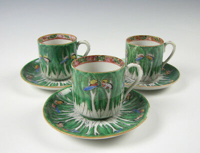 Chinese Export Porcelain Cabbage Leaf Butterfly Demitasse Cups & Saucers
