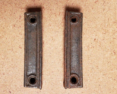 "PAIR Cast Iron Door Rim Lock Keeper Keep Catch Strike Plate 3"" (404BG)"
