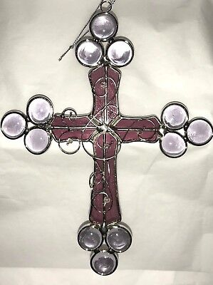 Stained Glass Lavender/Purple Cross [9034-A]