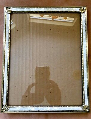 VINTAGE FAUX MOTHER OF PEARL INSET DESIGN Gold Tone PICTURE FRAME 8 X 10