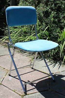 Marvelous Vintage French Industrial Mid Century Chrome Folding Theatre Caraccident5 Cool Chair Designs And Ideas Caraccident5Info