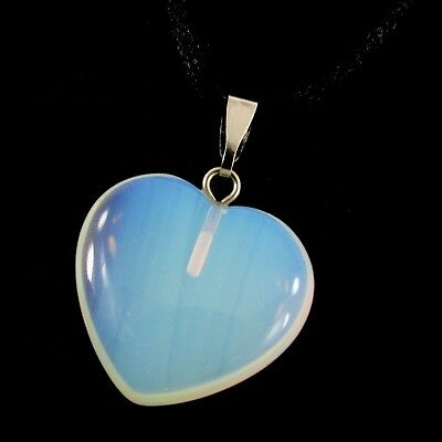 Large Heart 20mm, Opalite Iridescent Clear Crystal Gemstone Pendant +Cord A