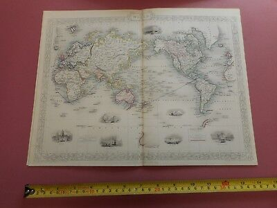 100% Original The World On Mercators Projection Map By Tallis C1855 Vg