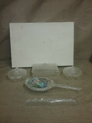 Vintage Child's Vanity/Dresser Set- Brush, Comb and 3 Jewelry/Toiletries Dishes
