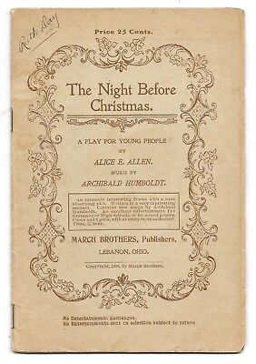 1906 The Night Before Christmas play book by the March Brothers