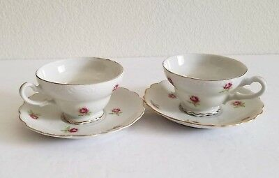 Pink Rose Pattern Royal Kent Bone China Tea Cup and Saucer Lot of 2 Unbranded
