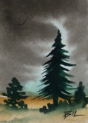 ACEO Original Art Painting by Bill Lupton - Tall Pines