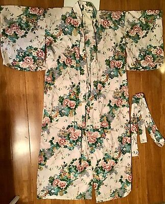 Vintage Japanese Asian pink floral cotton kimono ethnic robe Made in Japan