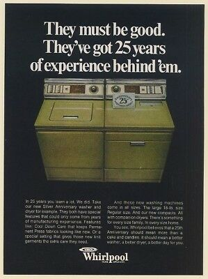 1973 Whirlpool Silver Anniversary Green Washer and Dryer They Must Be Good Ad