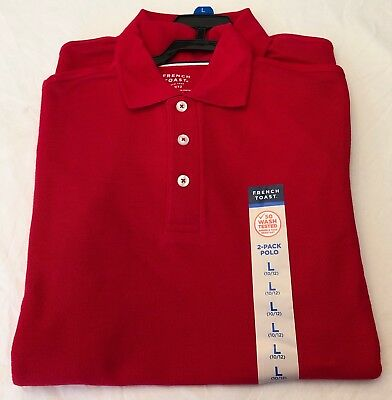 New Boys French Toast Schoolwear Red Polo Shirt. (Large 10/12)   2 PACK