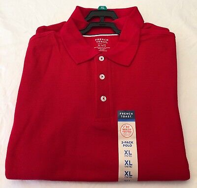 New Boys French Toast Schoolwear Red Polo Shirt. (XL 14/16)  2 PACK