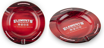 Elements Red Ashtray - 5 TRAYS - Round Metal Cigarette Cigar Ash Tray Magnetic