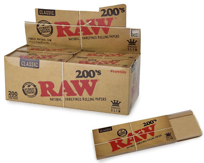 RAW Classic 200's King Size Slim - 10 Packs - Natural 200 Rolling Papers Pack