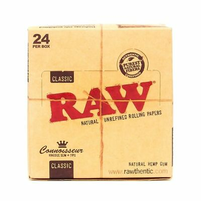 RAW Classic Connoisseur King Size Slim - 12 PACKS - Rolling Paper Pre Tips Tray