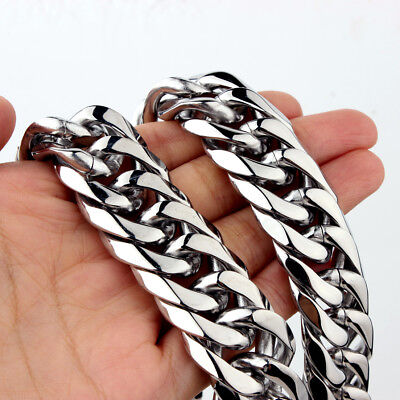 19/21/23mm Heavy Silver Cut Curb Cuban Chain 316L Stainless Steel Mens Necklace