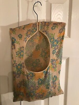 Antique Shabby Chic Vintage Clothes Pin Bag Holder W/ Clothes Pins