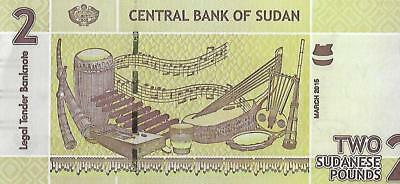 Sudan P71, 2 Pounds, pottery / musical instruments, UV & W/M image UNC SECURITY
