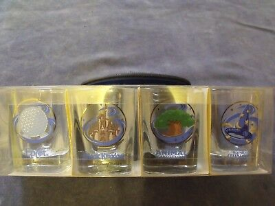 Set 4 Walt Disney World Shot Glass Set Epcot Magic & Animal Kingdom Hollywood