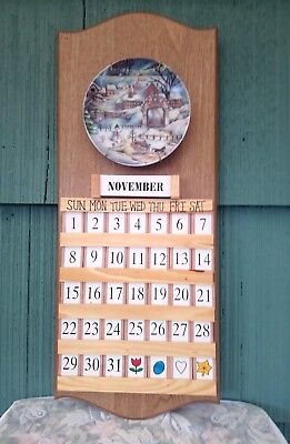 Perpetual Wooden Calendar Hanging 4 Interchangeable Plates Date And Month Tiles