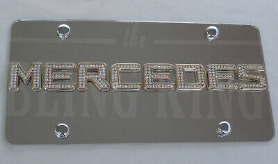 Mercedes Benz Chrome License Plate Tag w/ Swarovski Iced Out Crystal Emblems