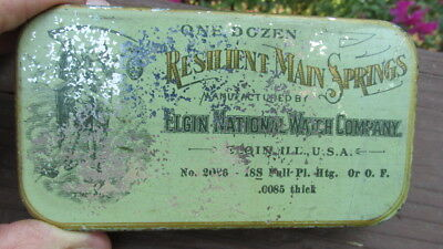 Vintage Elgin Nation Watch Company Resilient Main Springs Tin Rectangular